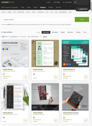 creative resume templates on GraphicRiver