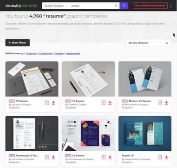 Resume templates on Envato Elements