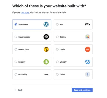 Selecting your CMS on the Podium website
