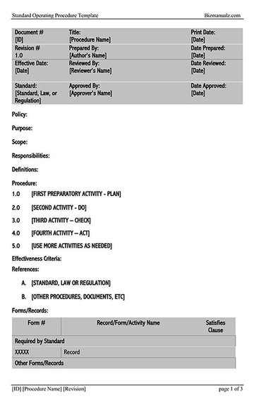 Standard Operating Procedure Template 06