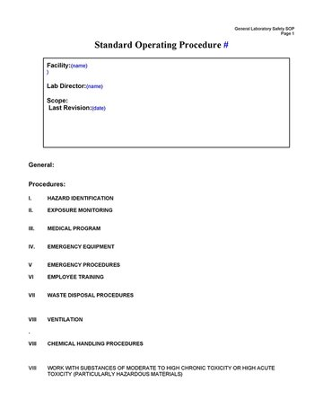 Standard Operating Procedure Template #8