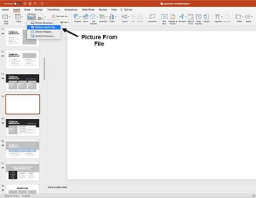 Inserting pictures into your PowerPoint template
