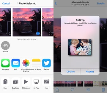 AirDrop on an iPhone