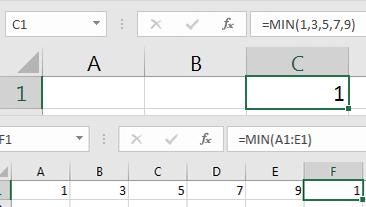 Excel Min Formula