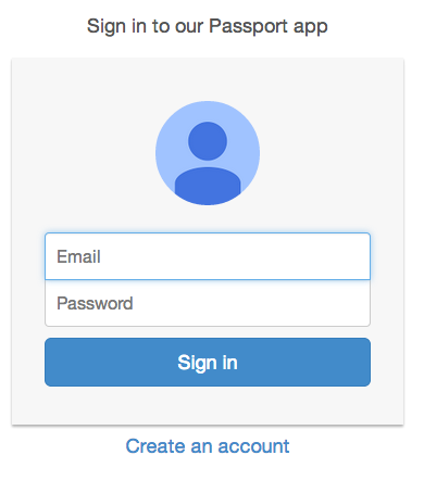 Login Page for Our Passport App