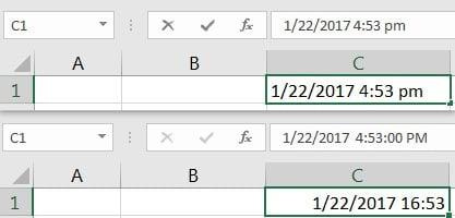Combined date and time formats in Excel