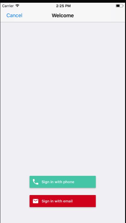 Modal FirebaseUI authentication screen