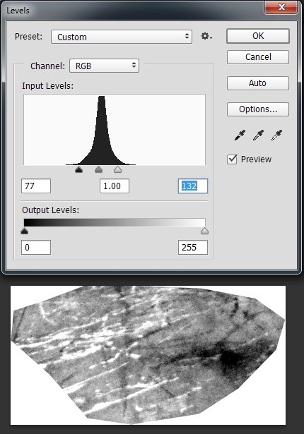 Using Levels to increase the contrast in the Scratches texture