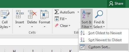 Custom Sort in Excel