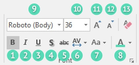Font tools in PowerPoint