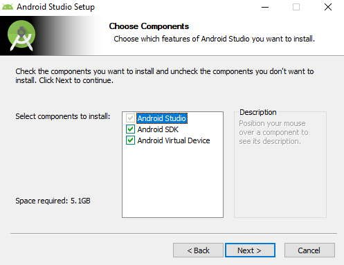 Android Studio—select components to install