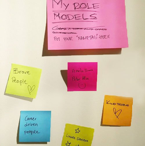 Post-it notes of role models noted down by participants of the panel discussion