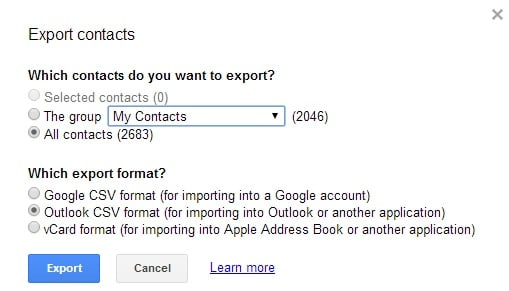 export contacts from gmail