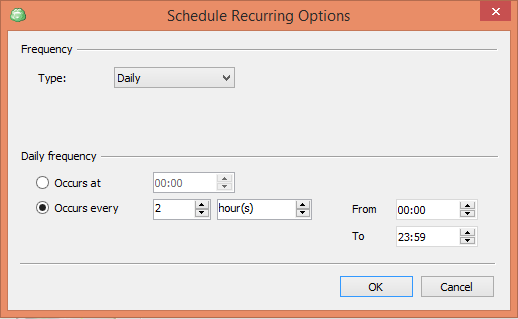CloudBerry Backup Wizard Recurring Options