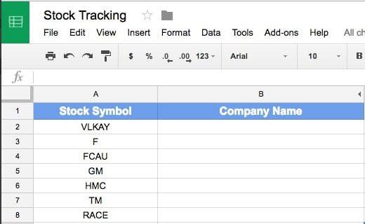 List of Stock Symbols