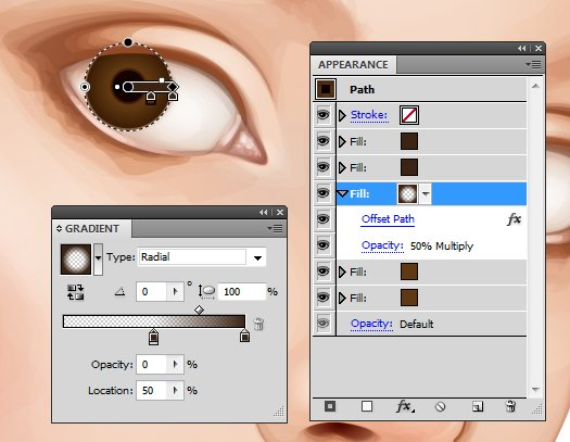 Use gradients for the eyes