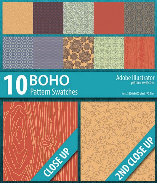 10 Boho Illustrator Pattern Swatches on Envato Market