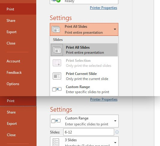 PowerPoint Slide selection