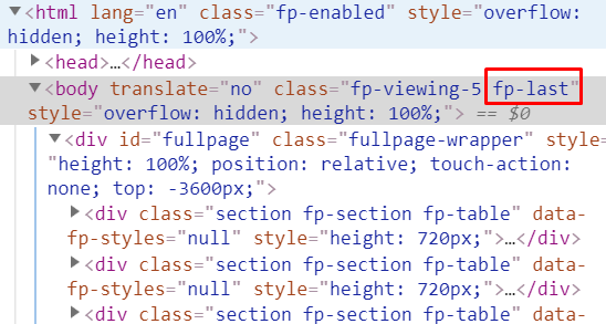 The custom class appended to the body when the last section is visible