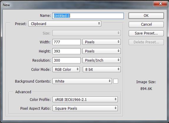 New file dialogue box autofills the correct pixel dimensions