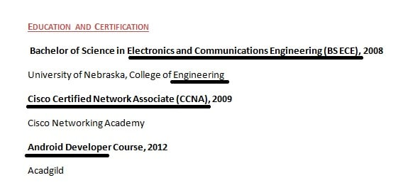 Example of resume keywords in education and training descriptions