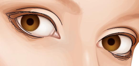 Add shading around the eyes