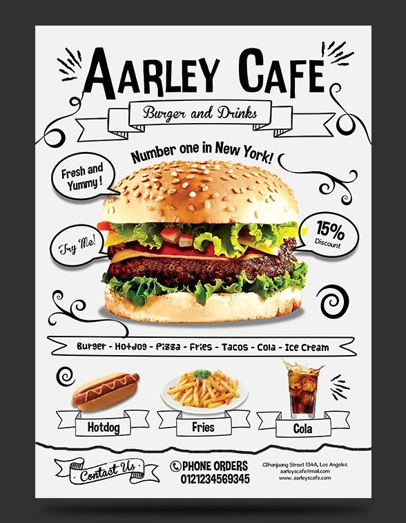 Doodle Cafe Menu Business Card