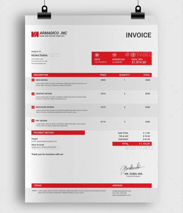 Professional Invoice Design Template