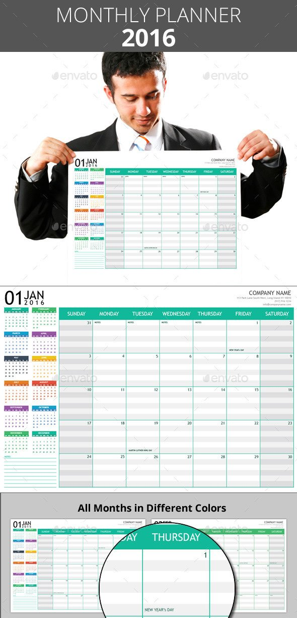 Printable Monthly Planner Poster 2016