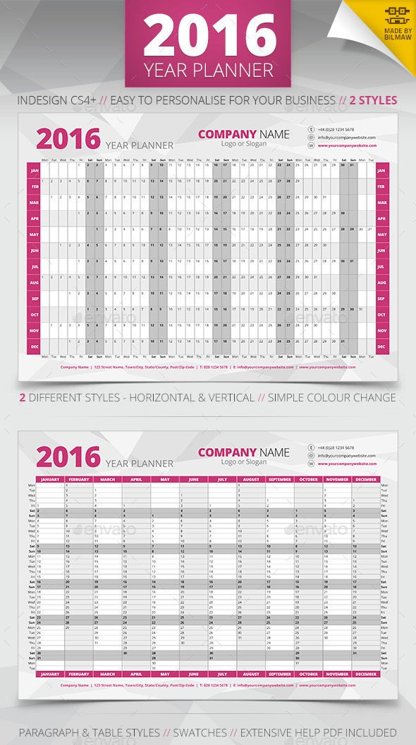 Printable year wall planner template