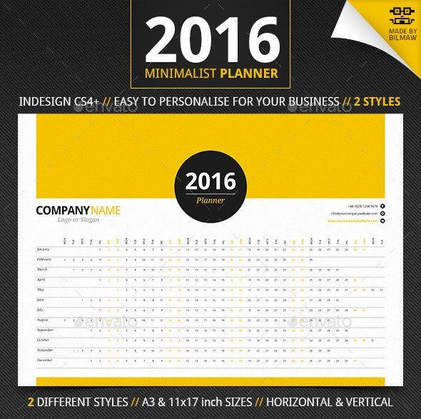 Yearly printable plannercalendar template
