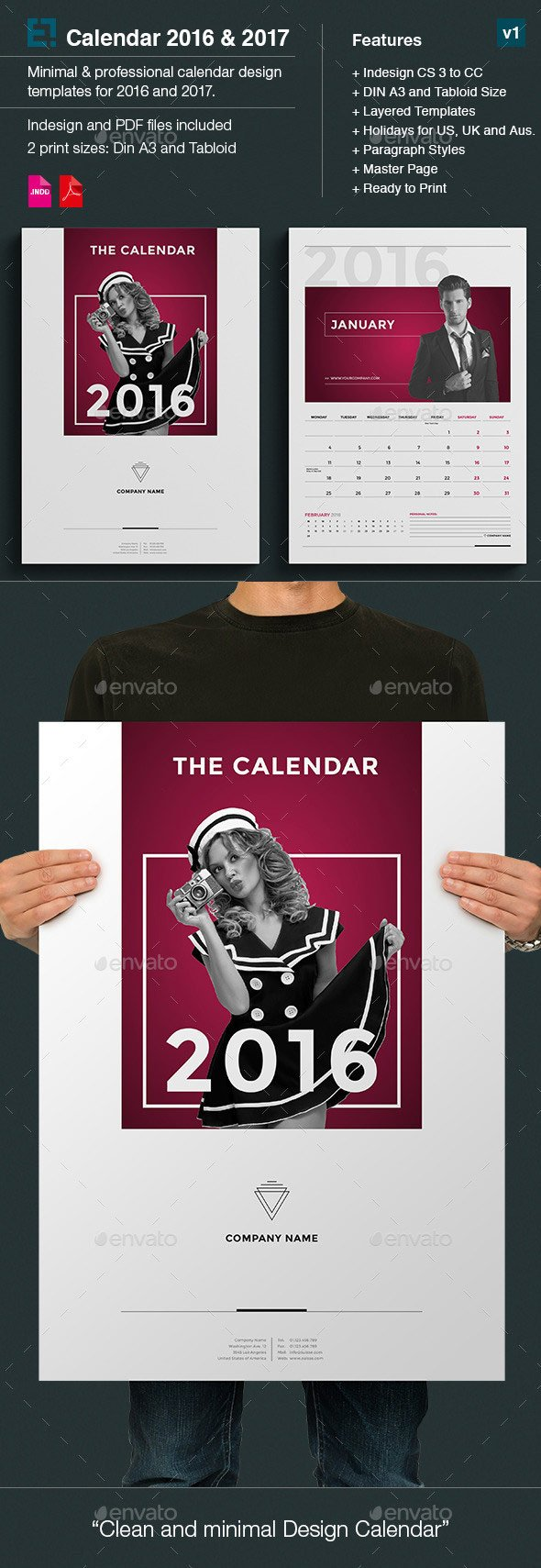 Minimal photo calendar template monthly 2016