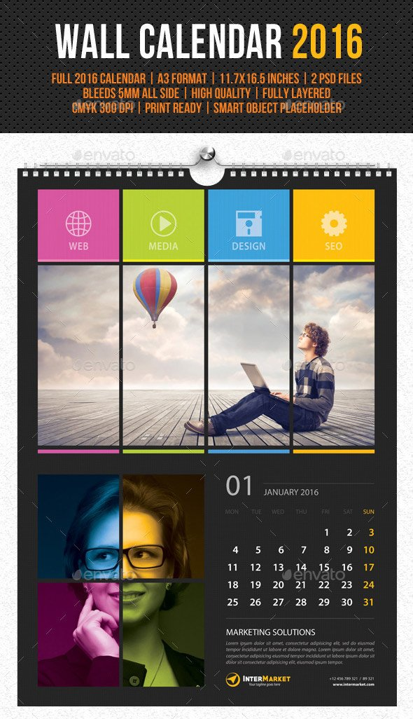 Photography monthly calendar 2016 template