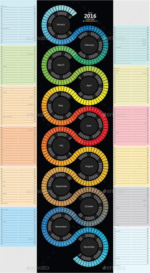 Colorful creative calendar idea template