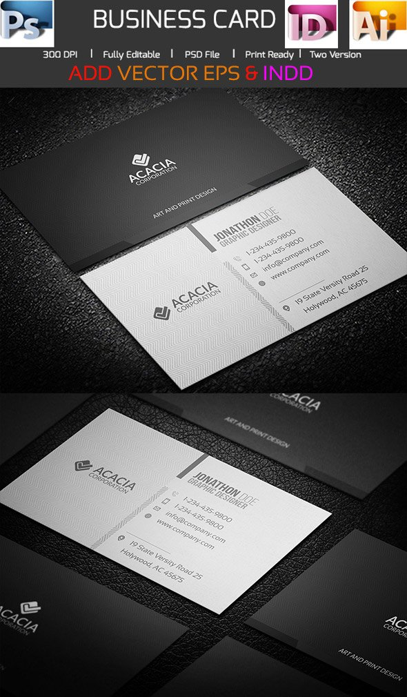 Acacia Business Card Template in INDD PSD and AI Formats