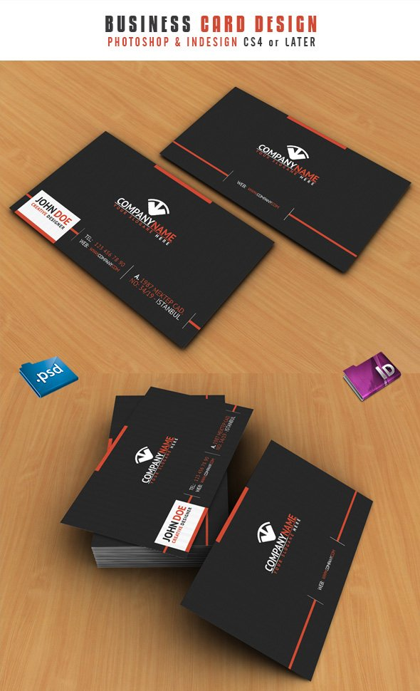 INDD and PSD Format Business Cards