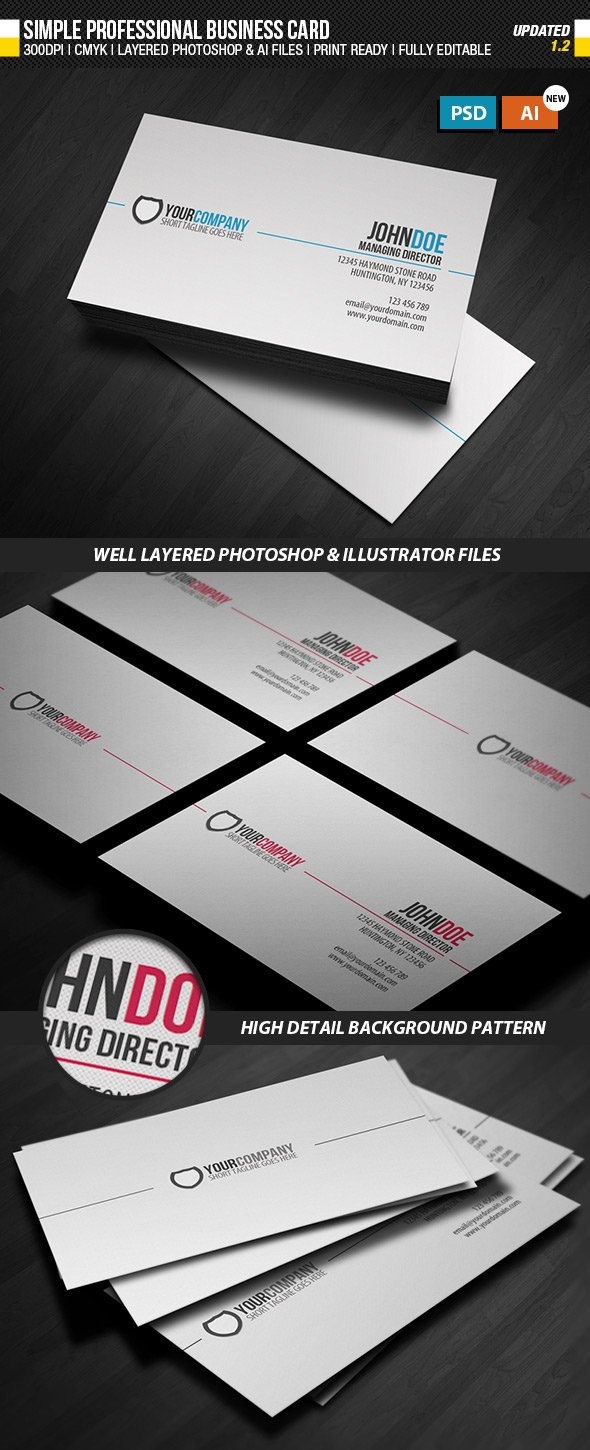 Simple AIVector Format Business Card Template