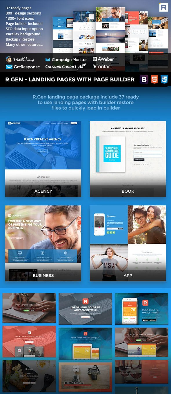 RGen landing page template with page builder