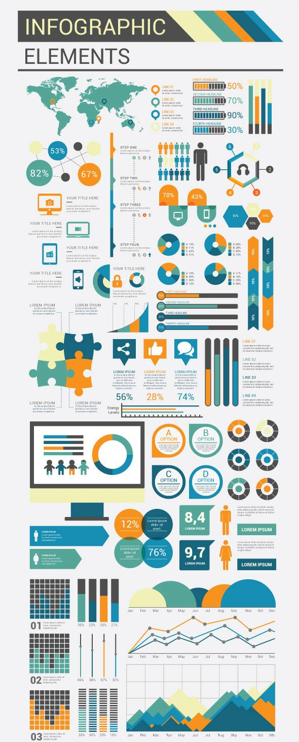 Infographic Flat Template Design Elements