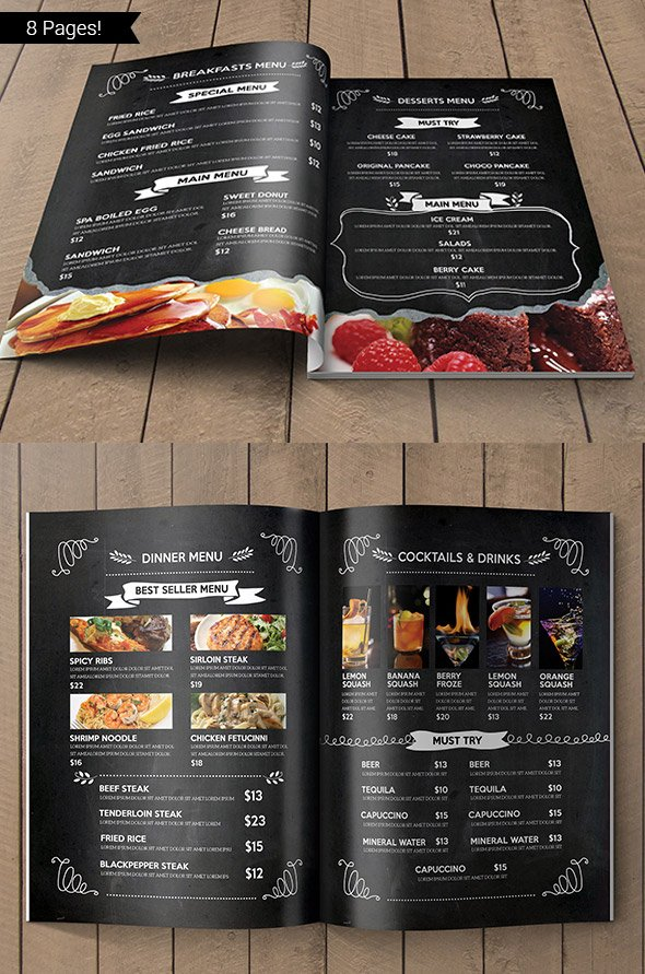 Blackboard Restaurant Menu Design