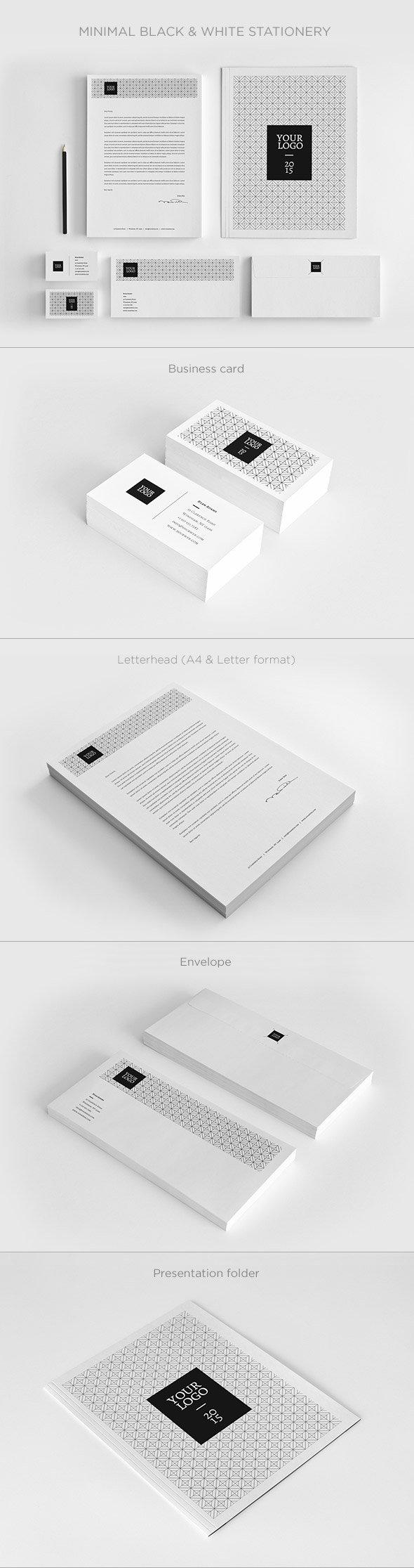 Minimal Black and White Stationery Set
