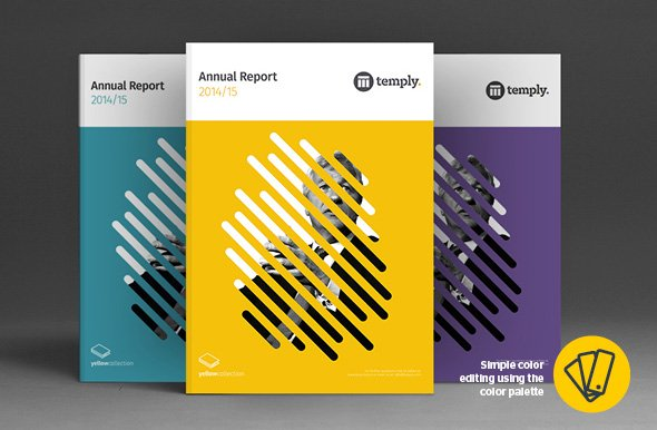 Creative annual report template cover color design options