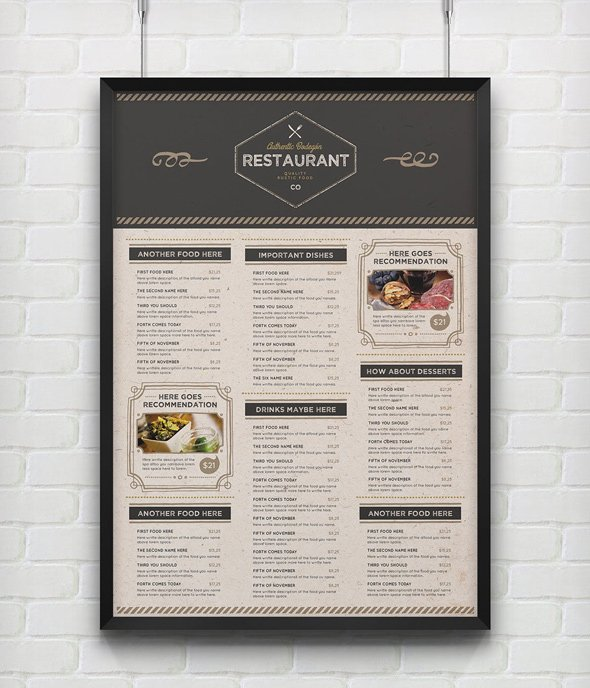 The Rustic Food Menu Template