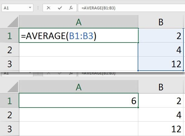 Average on Data in Excel