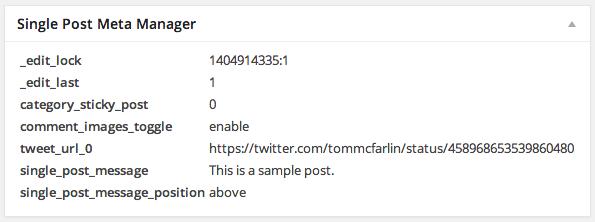 Single Post Meta Manager