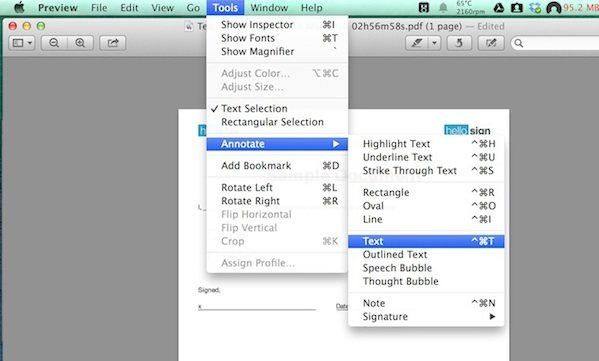 Adding text to a PDF via the Annotate window