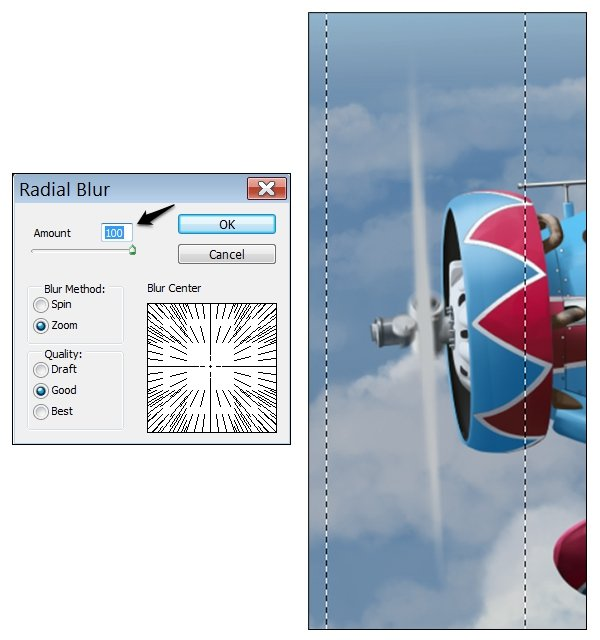 Add a selection border to encompass the blades and bring up the Radial Blur dialogue Use Zoom once more but at a much higher setting