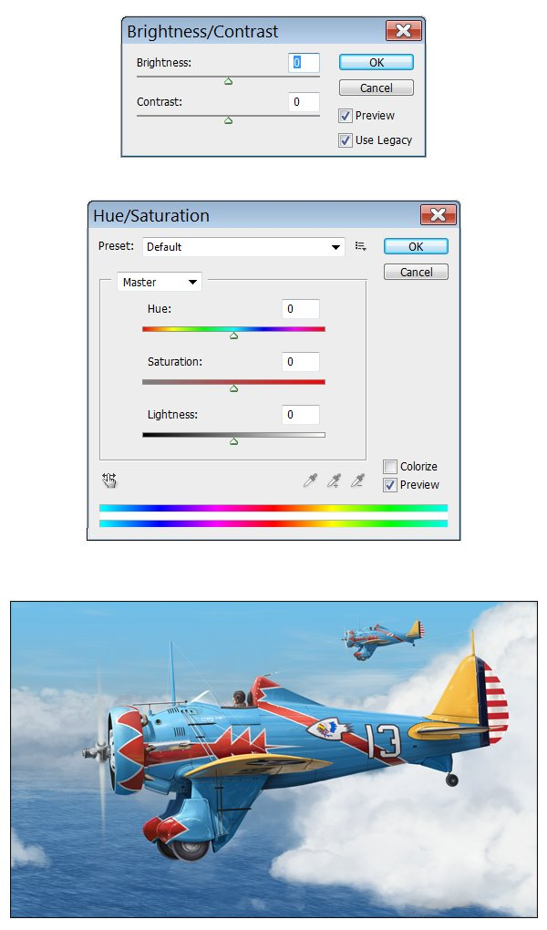 BrightnessContrast and HueSaturation settings can both be manipulated to add atmospheric perspective to the distant aircraft