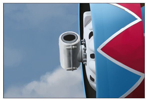 Paint the propeller blade mount including the bolts that hold its two halves together