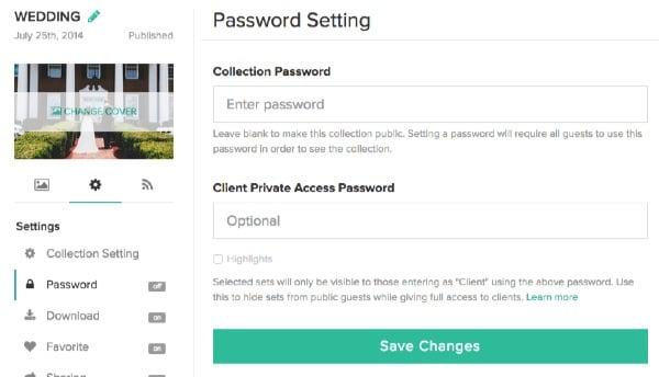 Set a password for Pixieset